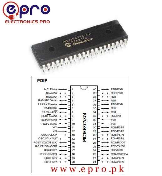 Microchip PIC16F877 20P 8bit PIC Microcontroller 20MHz 256 x 8 words 8K x 14 words Flash 40 Pin PDIP in Pakistan