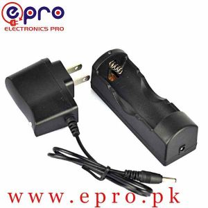 Single Slot Battery Charger for 18650 16340 26650 Rechargeable 3.7V Li-ion with 5V Adapter in Pakistan