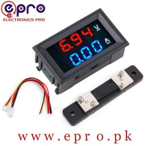 2 in 1 Digital Voltmeter Ammeter 0 to 100V 50A DC Volt Amp Meter With Shunt in Pakistan